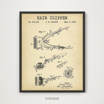 Hair Clipper Patent Print, Barber Shop Decor, Antique Clipper Printable, Hairdresser Beauty Technician, Barber Shop Wall Art Barber Poster