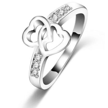 LZESHINE  Eternity Love Promise Rings For Women Silver Plated Double Heart Wedding Engagement Ring CRI0047-B