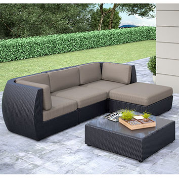 CorLiving PPS-604-Z Seattle Textured Black Weave Curved Five-Piece Sofa with Chaise Lounge Outdoor Patio Set