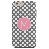 Pastel Pink & Gray Polka Dots with Custom Monogram