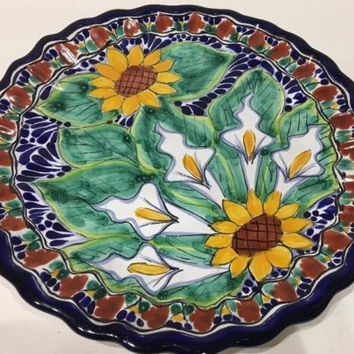 Casa Ocotlan HandPainted Floral Mexican Pottery Wall Hanging Plate Scalloped Rim