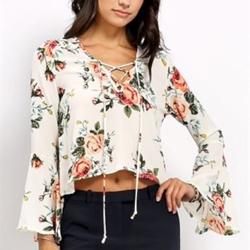 Lace Up Detail Floral Patterned Blouse