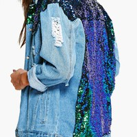 Zoe Sequin Yoke Denim Jacket | Boohoo