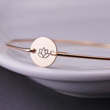 Lotus Jewelry, Lotus Flower, Simple Bracelet, Gold Yoga Bracelet, Gold Bangle Bracelet, Yoga Jewelry, Hand Stamped Jewelry