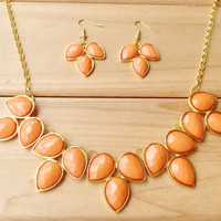 Coral Statement Necklace Earring Set,Teardrop Bib Necklace Earrings, Necklace for 2014 Summer