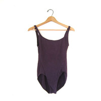 vintage purple Bodysuit. One piece. Leotard. Dancewear