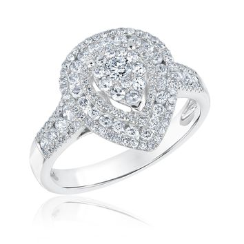 Pear Diamond Cluster Double Halo Engagement Ring 1ctw