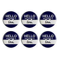 Ian Hello My Name Is Plastic Resin Button Set of 6