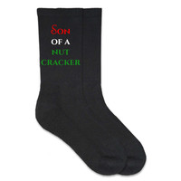 Son of a Nutcracker - Humorous Christmas Holiday Socks - Cotton Crew Socks
