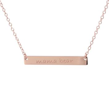 """Rose Gold Over Sterling Silver """"MAMA BEAR"""" Bar Necklace"""