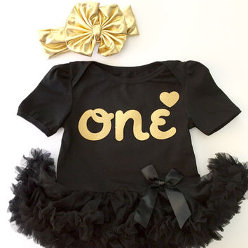 Baby Girl Birthday Outfit - Black and Gold Tutu & Gold Bow Headwrap, baby first birthday, baby girl 1st birthday outfit, smash cake outfit