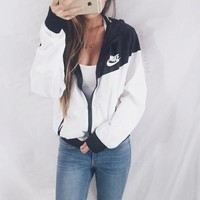 Nike Women Favorite Hooded Black/White Sweatshirt Jacket Coat Windbreaker Sportswear One-nice™