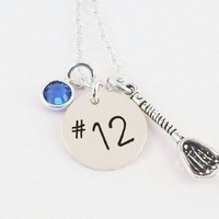Personalized Lacrosse Player Number Charm Necklace, Lacrosse Mom Necklace with Sterling Silver Lacrosse Stick Charm and Crystal Birthstone