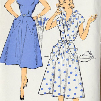 "1950s Misses Dress, Vintage Sewing Pattern, New York 1303 bust 32"" uncut"