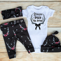 Baby Girls Coming Home Outfit, Baby Girl, Princess Custom Name Has Arrived, Silver Deer Antlerts,Pink Flowers,leggings,Onesuit,Hat,Headband