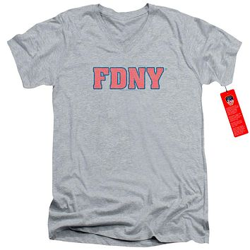 FDNY Slim Fit V-Neck T-Shirt New York Fire Dept Logo Heather Tee