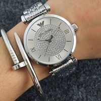 ARMANI  Woman Men Fashion Print Watch Business Watches Wrist Watch Silver G-Fushida-8899