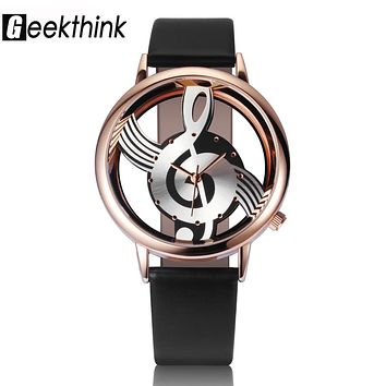 Musical Note Style Leather Casual Watch