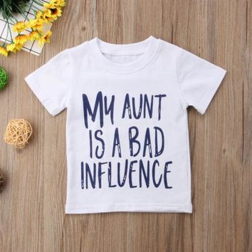 Toddler Newborn Kid Baby Boy Girl Tops Tee Aunt Summer Letter Short Sleeve Cotton Boys Clothes