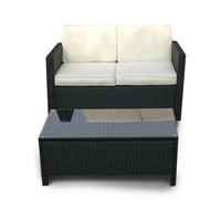 Miami Beach Collection - 2 PCS Loveseat & Coffee Table Patio Set (Black)