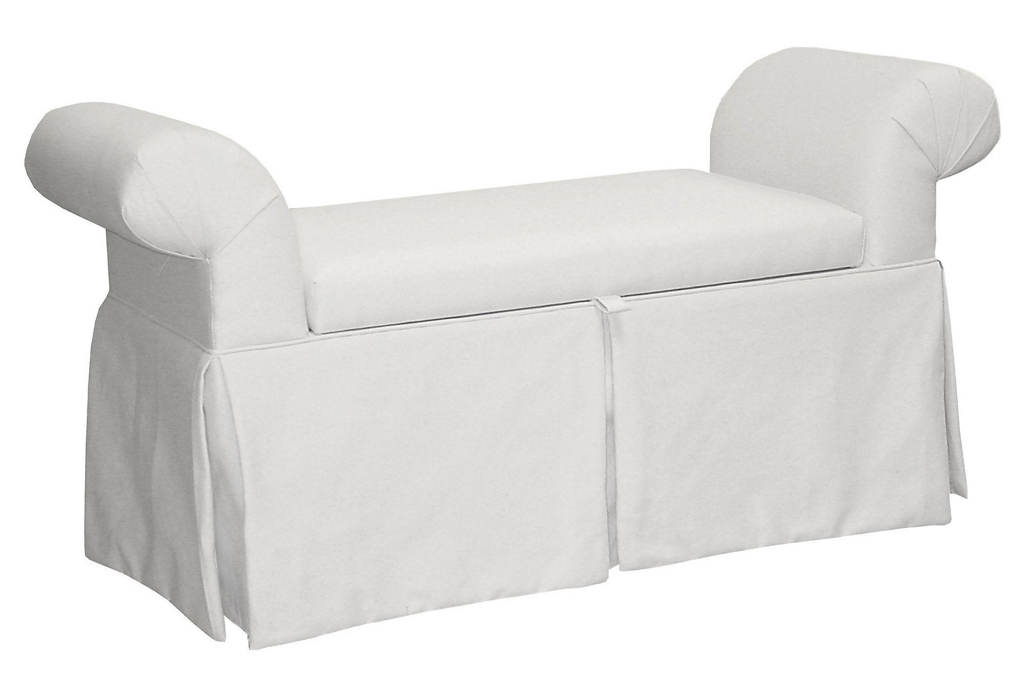 Mara 51 Roll Arm Storage Bench White From One Kings Lane