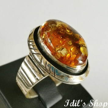 Authentic Turkish Ottoman Style Handmade 925 Sterling Silver Ring For Men With Amber Stone.