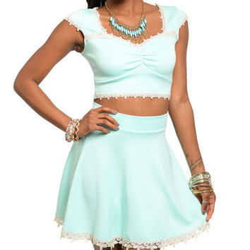 Lace Mint Cropped Top & High Waisted Skirt