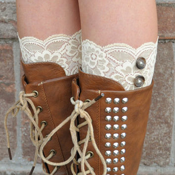 Lace Boot Cuffs - Faux Lace Boot Socks - Faux Lace Leg Warmers - Lace Boot Topper - Faux Knee High Sock - Womens - Custard