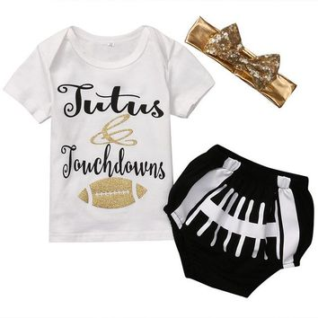3PCS/Tutus & Touchdowns Tee+ Football Shorts+ Bowknot