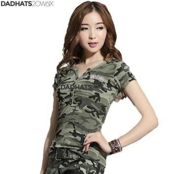2017 Casual Fashion Summer Tops V-Neck T-Shirt Military Uniform Camouflage Ladies Tee Shirt Femme Short Sleeve Camisetas Mujer