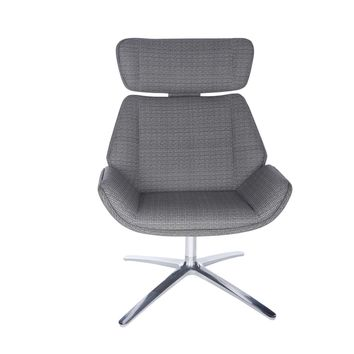 Ana Swivel Lounge Chair in Gray with Polished Aluminum Base
