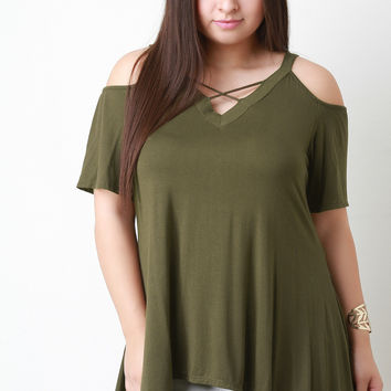 Jersey Knit Cold Shoulder Handkerchief Hem Top