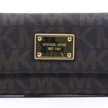 Michael Kors Women's Jet Set 32F1GJSE4B Checkbook Wallet Brown