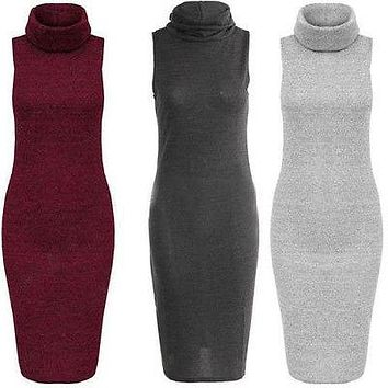 Dresses New Womens Ladies Fall Winter Clothes Dresses Long Warm Knit Casual Sleeveless Sweater Slim BodyCon Dress
