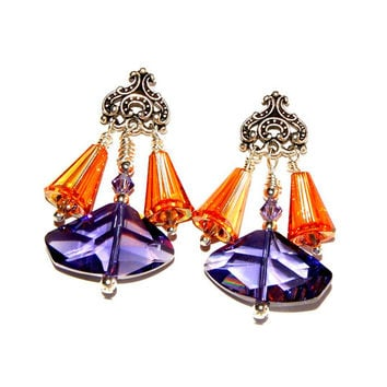 Swarovski Crystal Purple Pendant chandelier earrings in amber topaz and amethyst purple violet colors on an ornate post