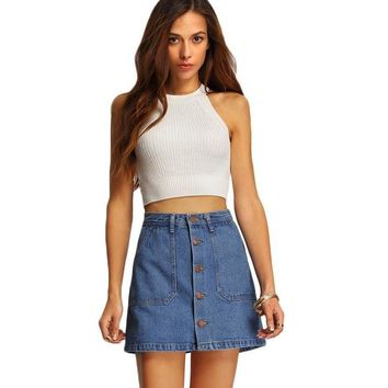 Women Mini Skirts High Waist Pockets Blue Single Breasted Denim A-Line Skirt