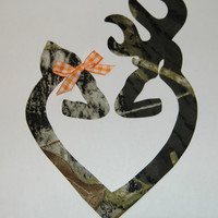 Browning Made to Match Mossy Oak Camo Deer Iron On Fabric Applique DIY No Sew