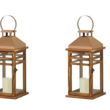 Set of Large 2 Contemporary Rose Gold Top Lanterns