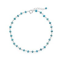 Sterling Silver Turquoise Bead Anklet