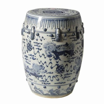 Chinese Blue and White Porcelain Garden Stool Round Foo Dog Lion Motif 18""