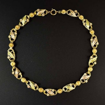 Antique Rose & Yellow Gold Victorian Bookchain Necklace