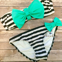 Bow Bikini: Mint Stripe