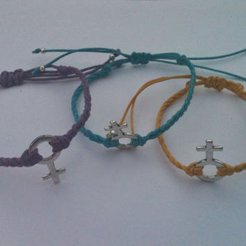 Set of 3 Girly Chick Female Symbol Friendship Bracelets Stack Bracelets