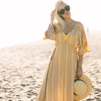 Skye Yellow Printed Kaftan Maxi Dress