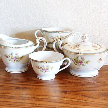 Vintage Tea Set Porcelain Cups Fine China Cream Sugar Noritake Nippon Japan