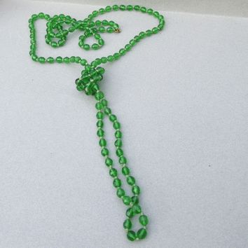 """1920's Czech Glass 60"""" LONG Green Crystal Bead Hand-Knotted Flapper Necklace"""