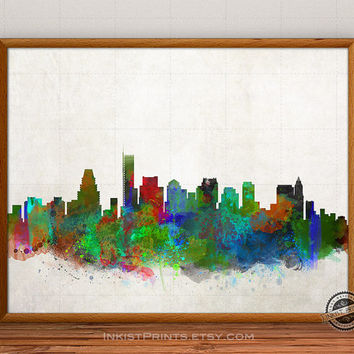 Boston Skyline Watercolor, Massachusetts Print, USA City Painting, States Poster, Illustration Art Paint, Giclee Wall, Cityscape, Home Decor