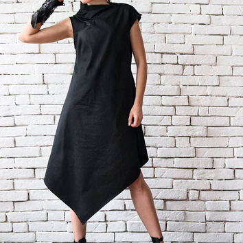 Black Asymmetric Dress/Plus Size Loose Tunic/Extravagant Long Top/Sleeveless Black Dress/Maxi Black Dress/Black Maxi Dress/Black Long Tunic