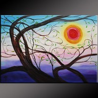 ABSTRACT tree ORIGINAL ART PAINTING 36x24ART | donspricly - Painting on ArtFire
