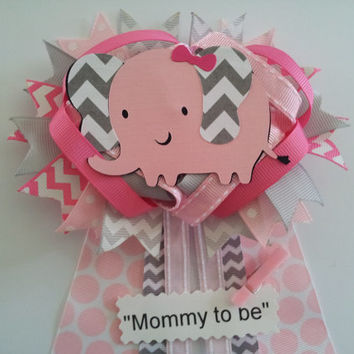 Pink Elephant Girl Baby Shower Pin/corsage